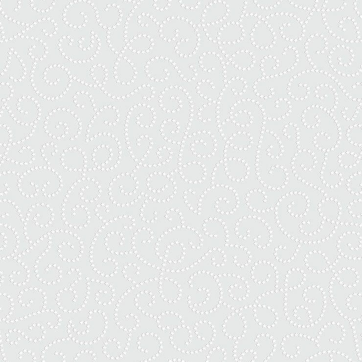 Papel de parede Infantil Bobinex Coleção Renascer Arabesco Flor Cinza, Branco