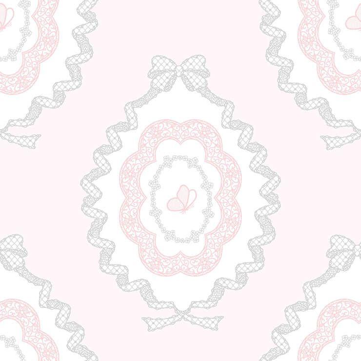 Papel de parede Infantil Bobinex Coleção Renascer  Charlotte Rosa, Branco, Cinza