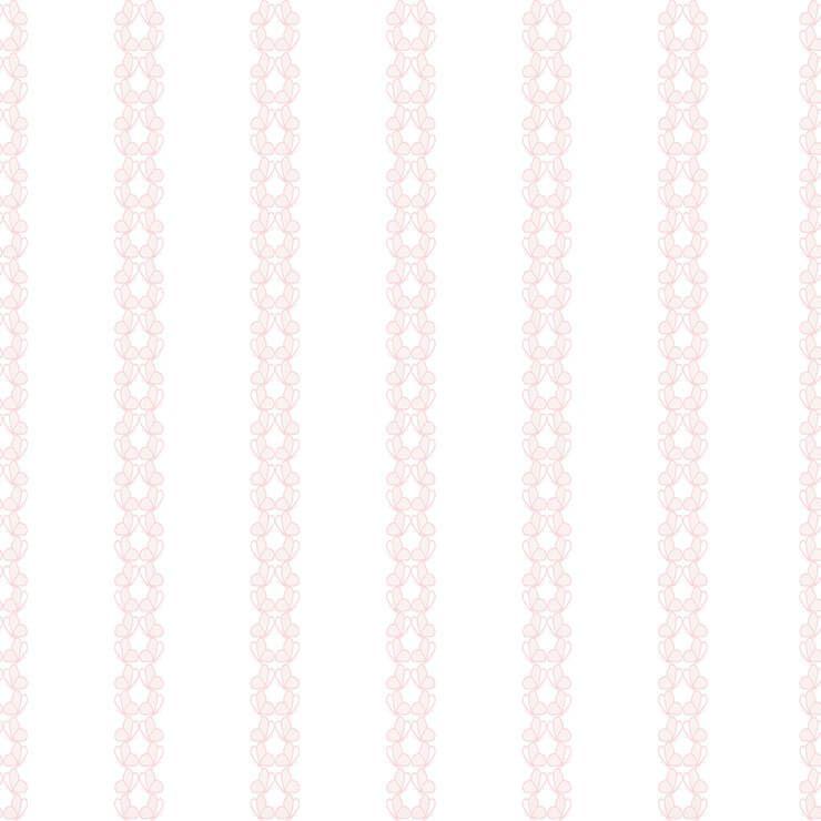 Papel de parede Infantil Bobinex Coleção Renascer Listras Borboletas Branco, Rosa