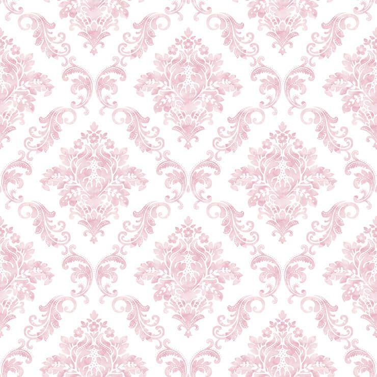 Papel de parede Infantil Bobinex Coleção Renascer Damask Rosa, Branco