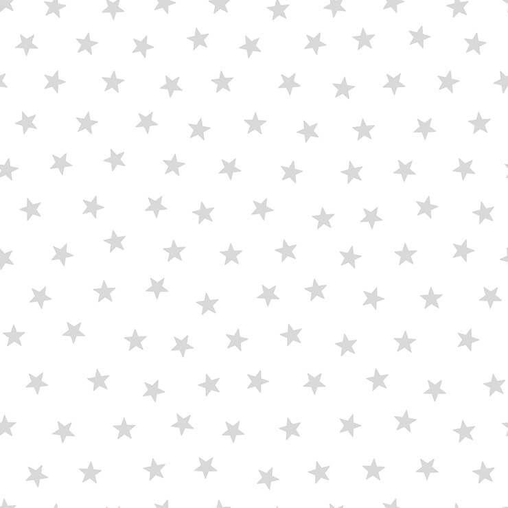 Papel de parede Infantil Bobinex Coleção Renascer Estrelas Branco, Prata