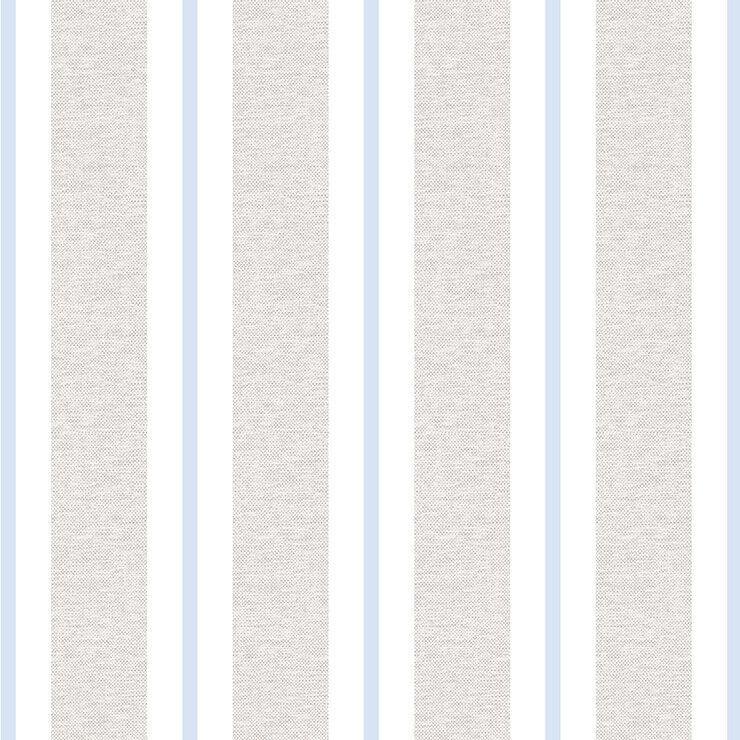 Papel de parede Infantil Bobinex Coleção Renascer Listrado Bege, Azul claro, Branco