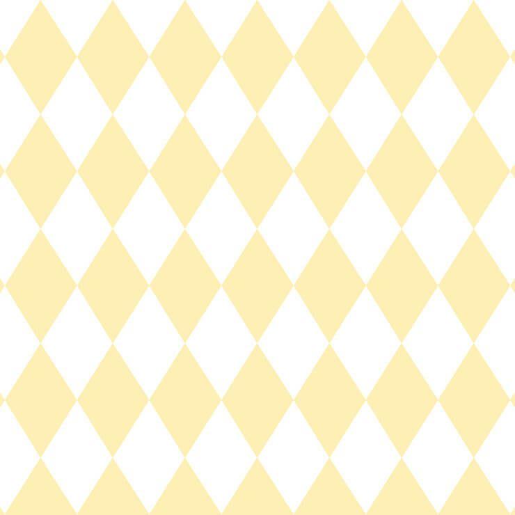 Papel de parede Infantil Bobinex Coleção Renascer Geométrico Losango Amarelo, Branco