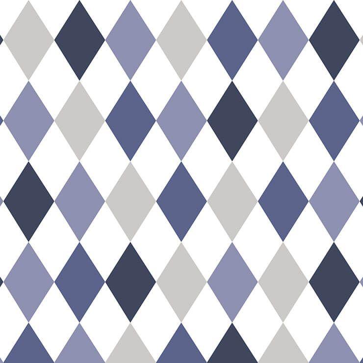Papel de parede Infantil Bobinex Coleção Renascer Geométrico Losango Azul, Branco, Cinza, Preto