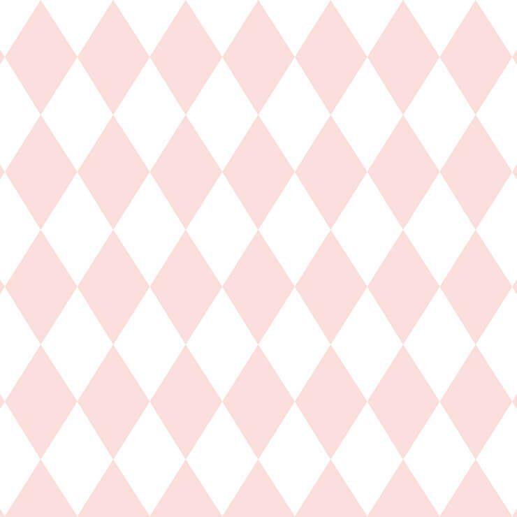 Papel de parede Infantil Bobinex Coleção Renascer Geométrico Losango Rosa, Branco