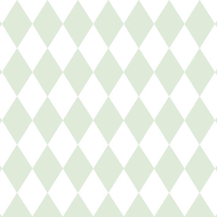 Papel de parede Infantil Bobinex Coleção Renascer Geométrico Losango Verde, Branco