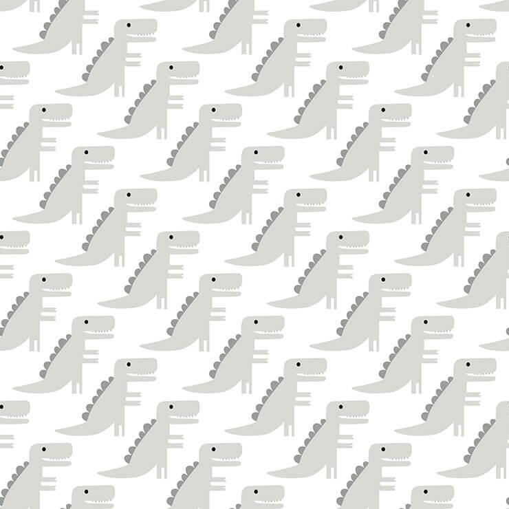 Papel de parede Infantil Bobinex Coleção Renascer Dinossauros Off White, Cinza