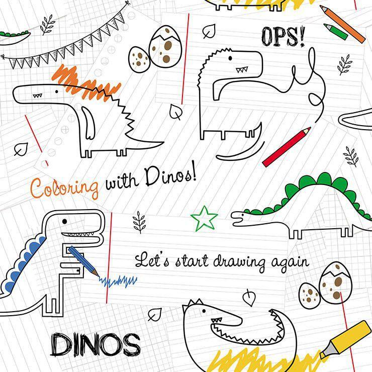 Papel de parede Infantil Bobinex Coleção Renascer Dinossauros Branco, Preto, Verde, Vermelho