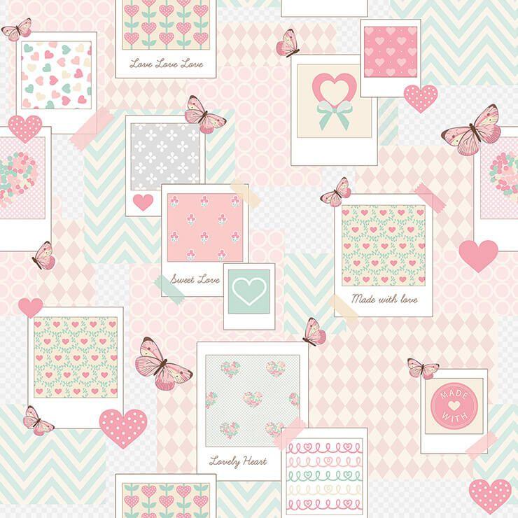 Papel de parede Infantil Bobinex Coleção Renascer  Patch Love Rosa, Branco, Bege