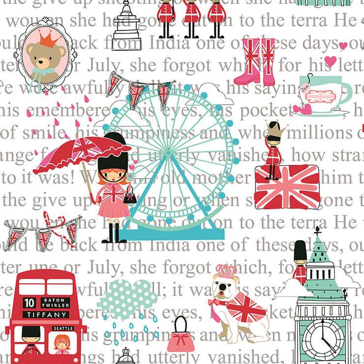 Papel de parede Infantil Bobinex Renascer Pink London Branco, Rosa, Azul, Vermelho