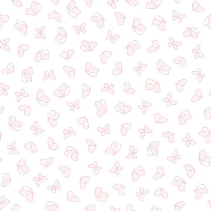 Papel de parede Infantil Bobinex Coleção Renascer Borboletas Branco, Rosa
