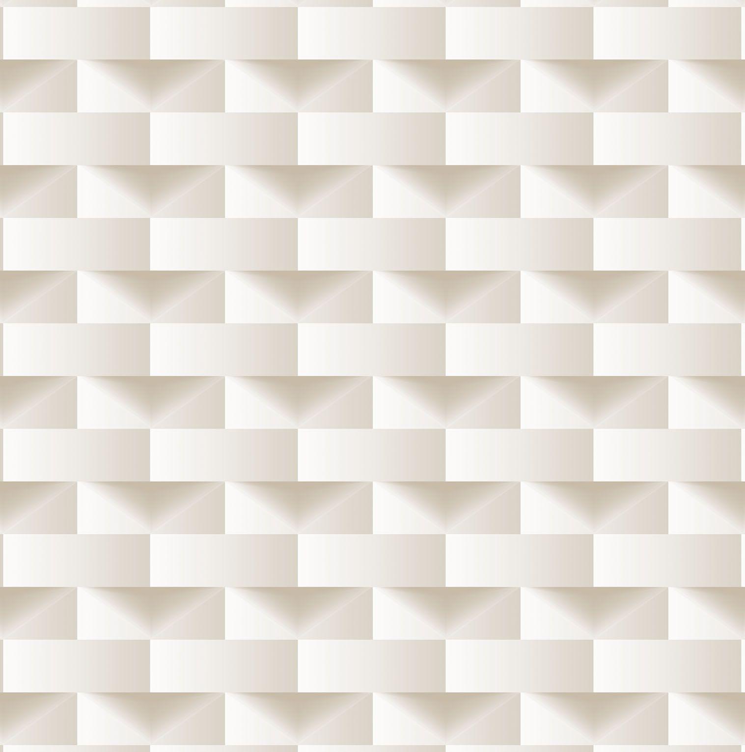 Papel de parede Bobinex Vinílico Coleção Dimensões Geométrico 3D Bege, Marfim