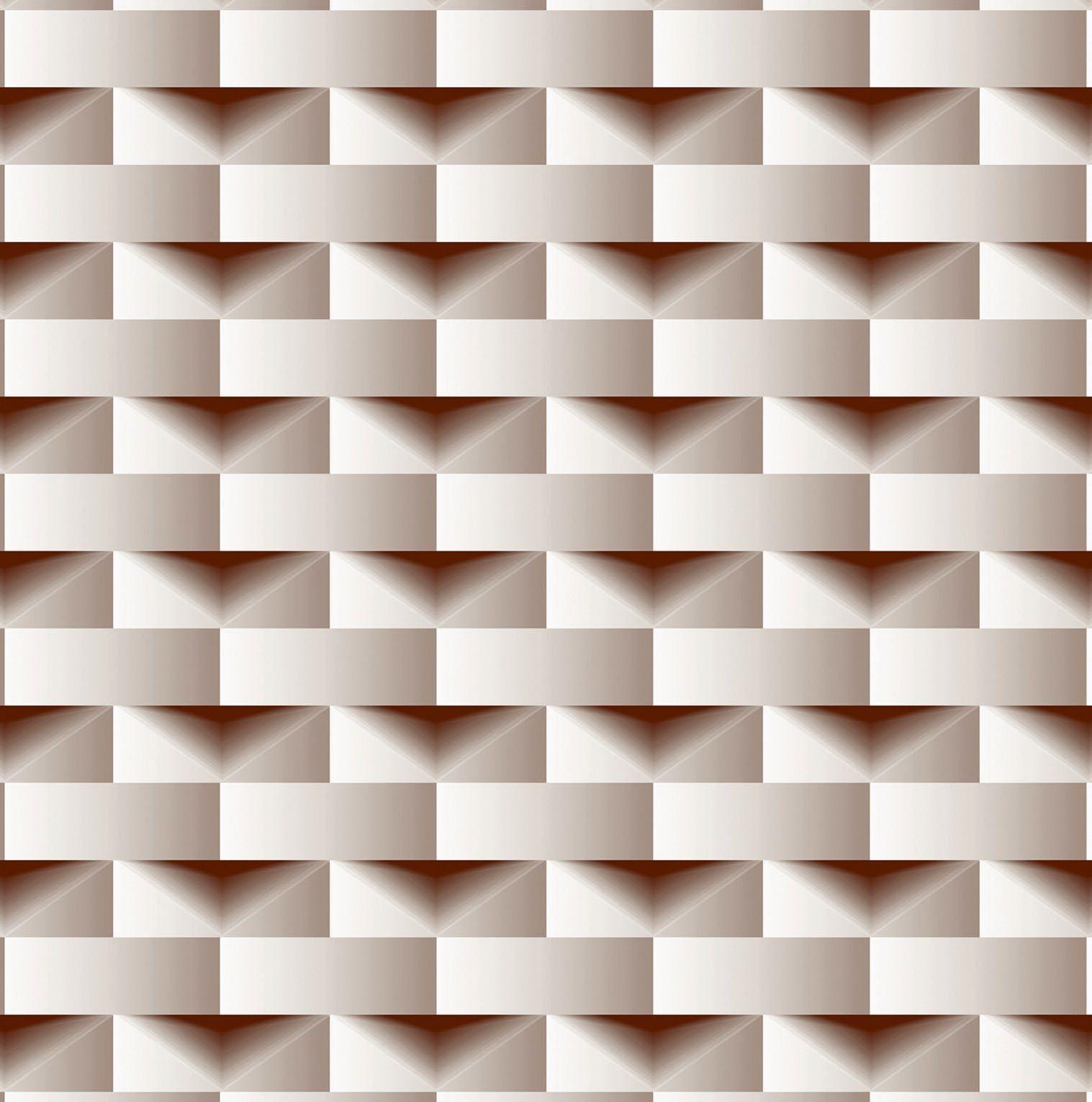 Papel de parede Bobinex  Vinílico Coleção Dimensões Geométrico 3D Marrom, Marfim