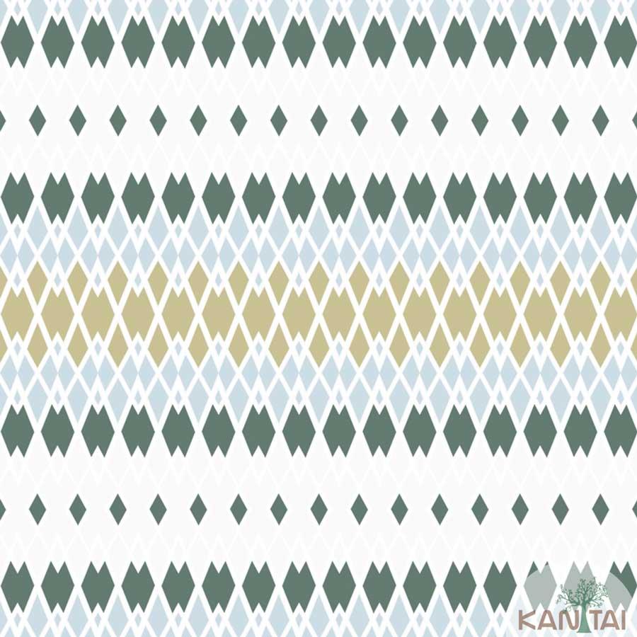 Papel de Parede Kan Tai TNT Coleção New City V Geométrico Triângulo Off White, Verde, Bege
