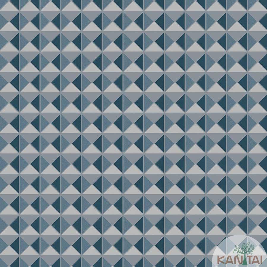 Papel de Parede Kan Tai TNT Coleção New City V Geométrico Azul turquesa, Cinza, Brilho