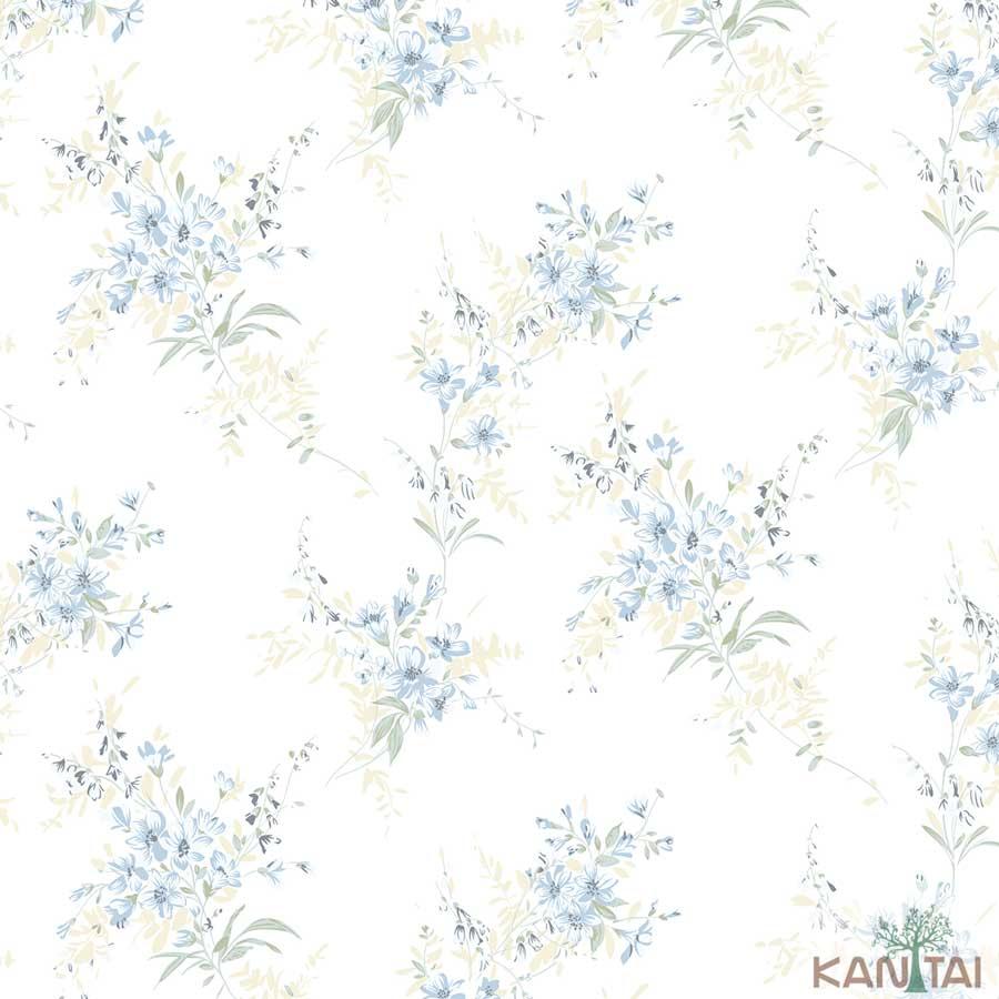 Papel de Parede Kan Tai TNT Coleção New City V Flores delicadas Creme, Verde, Azul