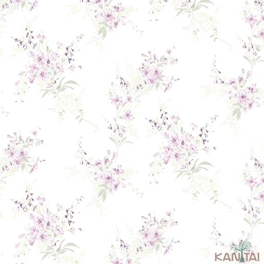 Papel de Parede Kan Tai TNT Coleção New City V Flores delicadas Creme, Rosa, Verde