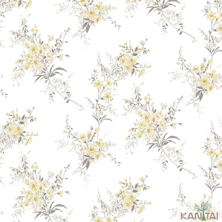 Papel de Parede Kan Tai TNT Coleção New City V Flores delicadas Creme, Amarelo, Cinza