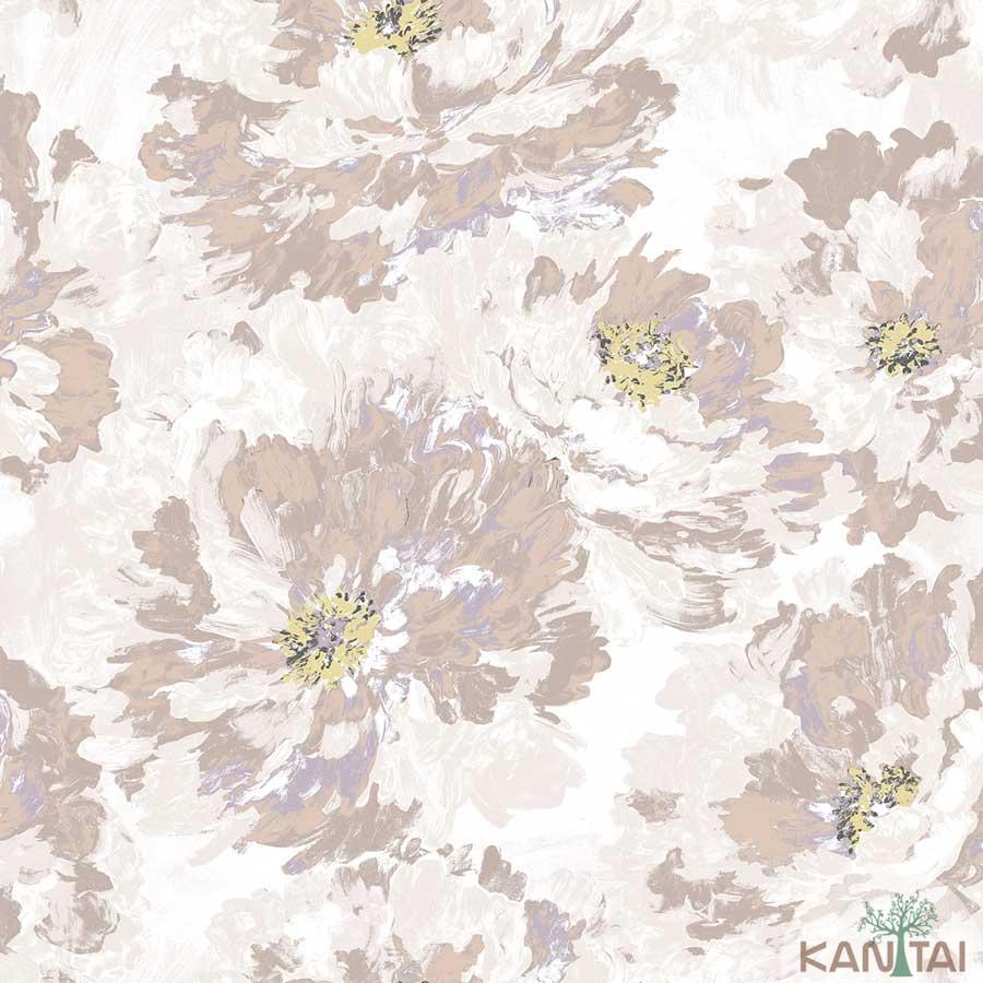 Papel de Parede Kan Tai TNT Coleção New City V Floral Aquarelado Bege, Marrom, Amarelo
