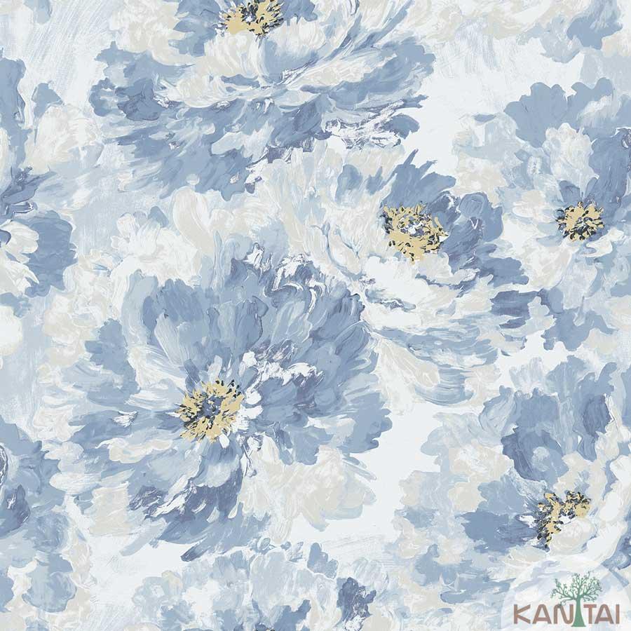 Papel de Parede Kan Tai TNT Coleção New City V Floral Aquarelado Bege, Azul, Amarelo