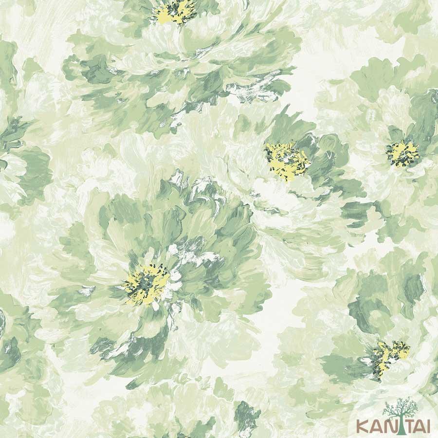 Papel de Parede Kan Tai TNT Coleção New City V Floral Aquarelado Verde, Bege, Amarelo