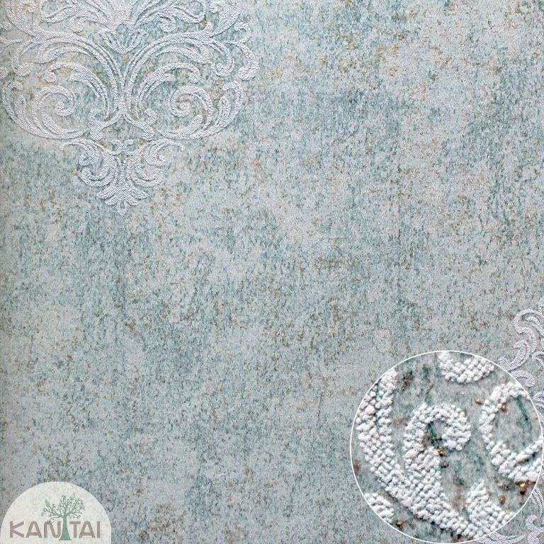 Parede de parede Kan Tai TNT Coleção Space 4 Arabesco Verde, Bege, Dourado