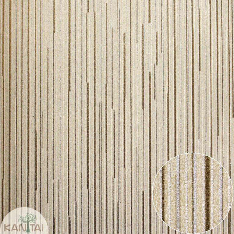 Parede de parede Kan Tai  TNT Coleção Space 4 Listras finas Bege, Dourado