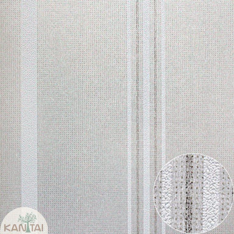 Parede de parede Kan Tai TNT Coleção Space 4 Listras Bege, Cinza claro