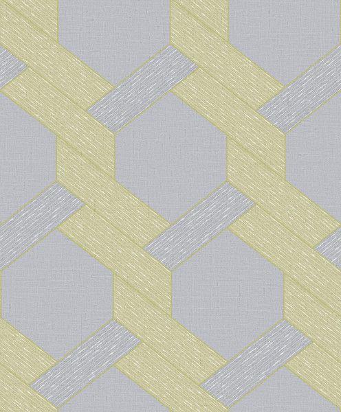 Papel de Parede TNT Coleção YoYo Infantil Geométrico Amarelo, Cinza