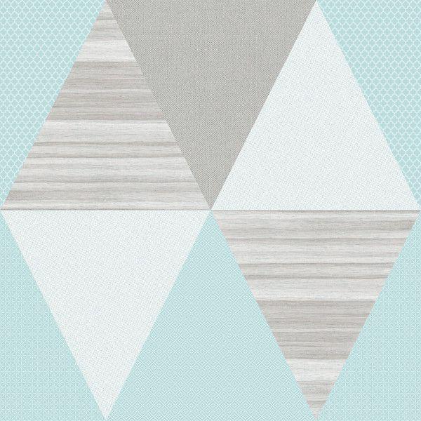 Papel de Parede Kan Tai TNT Infantil Coleção YoYo Geométrico Azul, Bege, Creme