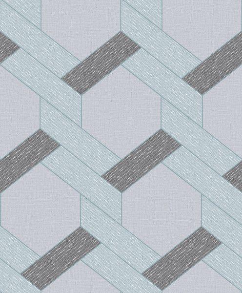 Papel de Parede Kan Tai TNT Coleção YoYo Infantil Geométrico Azul, Cinza