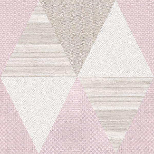 Papel de Parede Kan Tai TNT Infantil Coleção YoYo Geométrico Rosa, Bege, Creme