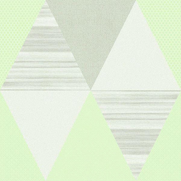 Papel de Parede TNT Coleção YoYo Infantil Geométrico Verde, Creme