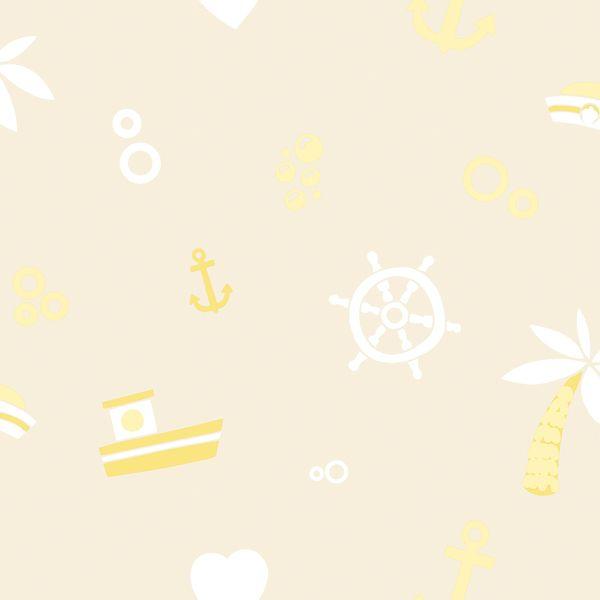Papel de Parede Kan Tai TNT Infantil Coleção YoYo Náutico Amarelo, Branco