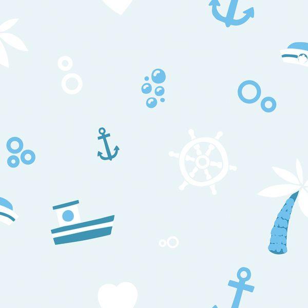 Papel de Parede TNT Coleção YoYo Infantil Náutico Azul, Branco