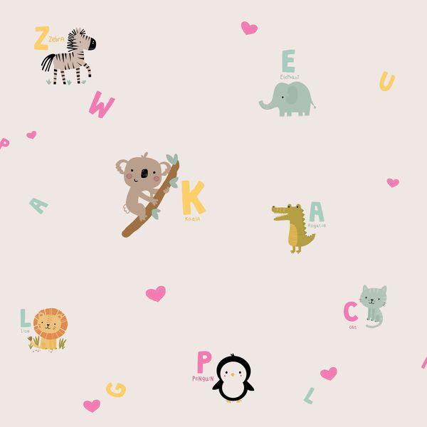 Papel de Parede TNT Coleção YoYo Infantil Safari Rosa, Amarelo, Verde, Marrom