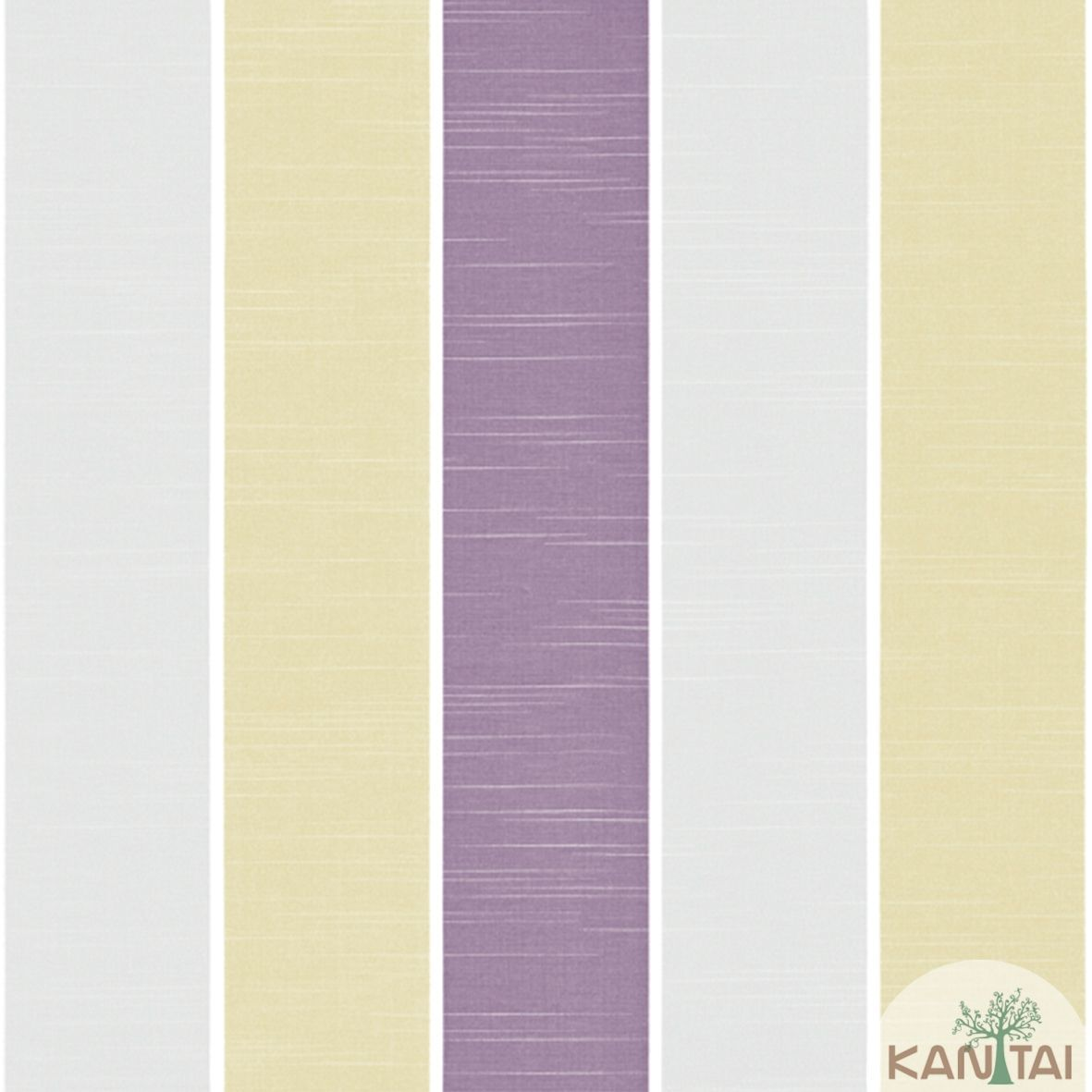 Papel de Parede Importado  Kan Tai  TNT Coleção Davinci II Listras Cinza, Branco, Amarelo Ouro, Violeta