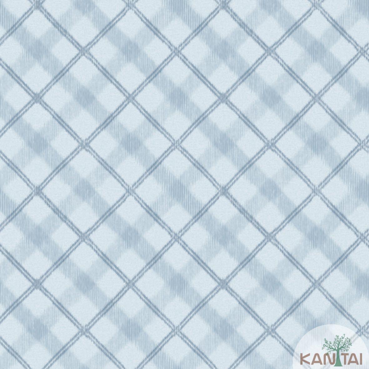 Papel de Parede Importado Kan Tai  TNT Coleção Davinci II Xadrez Tons de Azul Claro, Azul Marinho