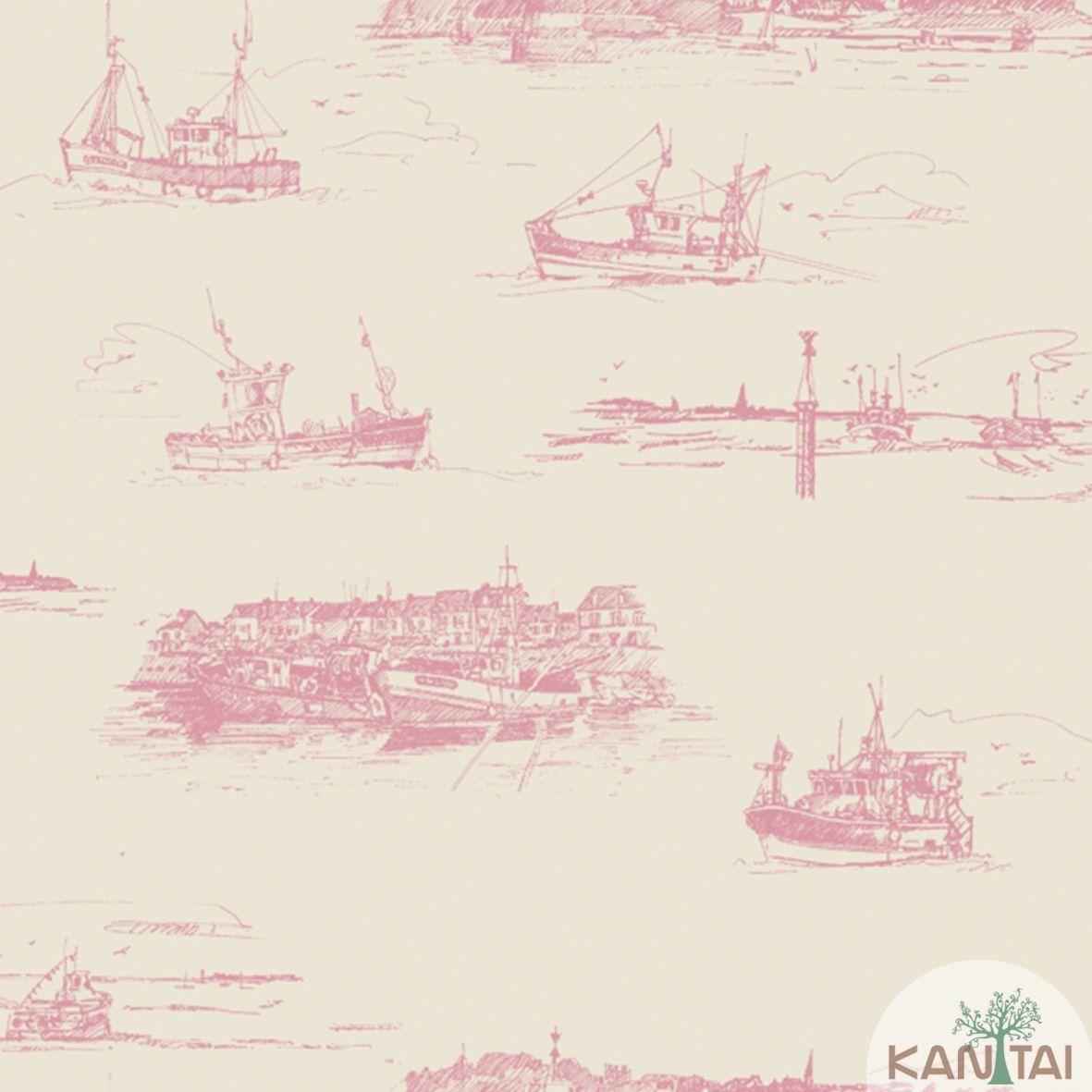 Papel de Parede Importado Kan Tai TNT Coleção Davinci II Embarcações Bege, Vermelho