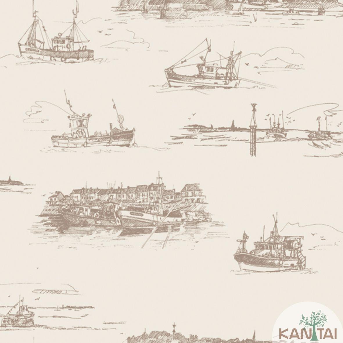 Papel de Parede Importado  Kan Tai  TNT Coleção Davinci II Embarcações Creme, Marrom