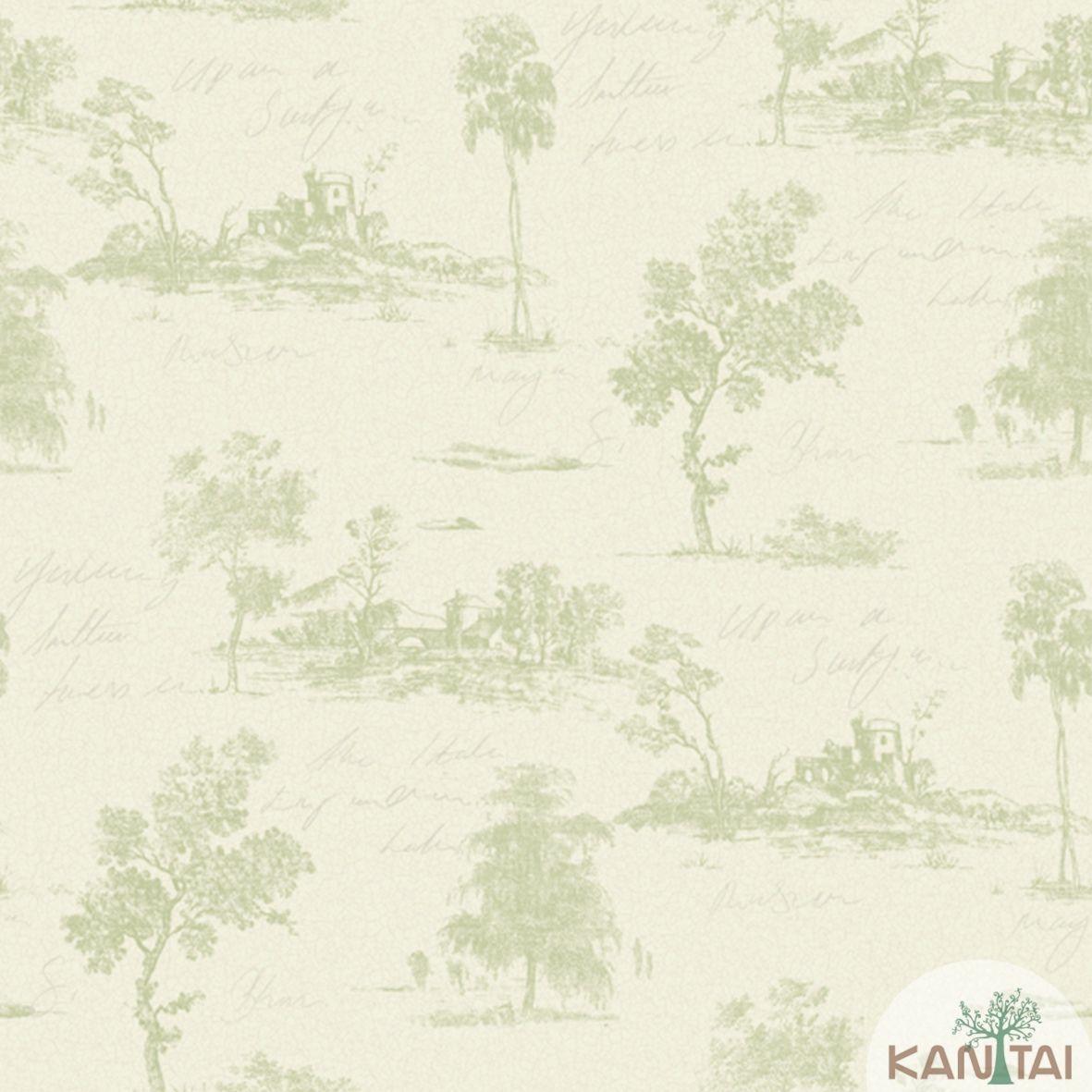 Papel de Parede Importado Kan Tai TNT Coleção Davinci II Árvores Tons Verde