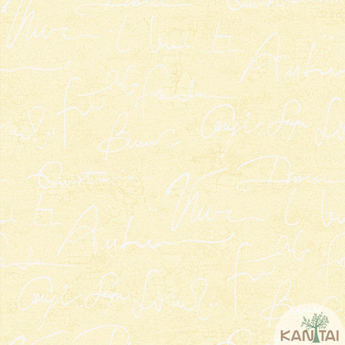 Papel de Parede Importado  Kan Tai  TNT Coleção Davinci II Tipografia Bege, Marfim