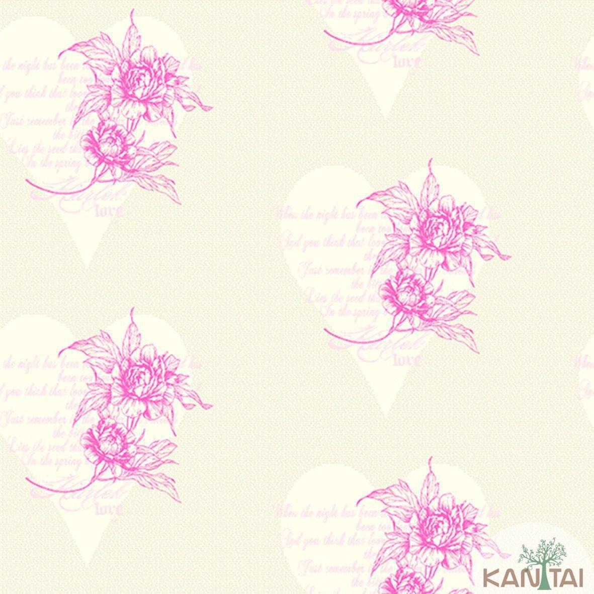 Papel de Parede Importado  Kan Tai TNT Coleção Davinci II Floral Corações Bege, Vermelho