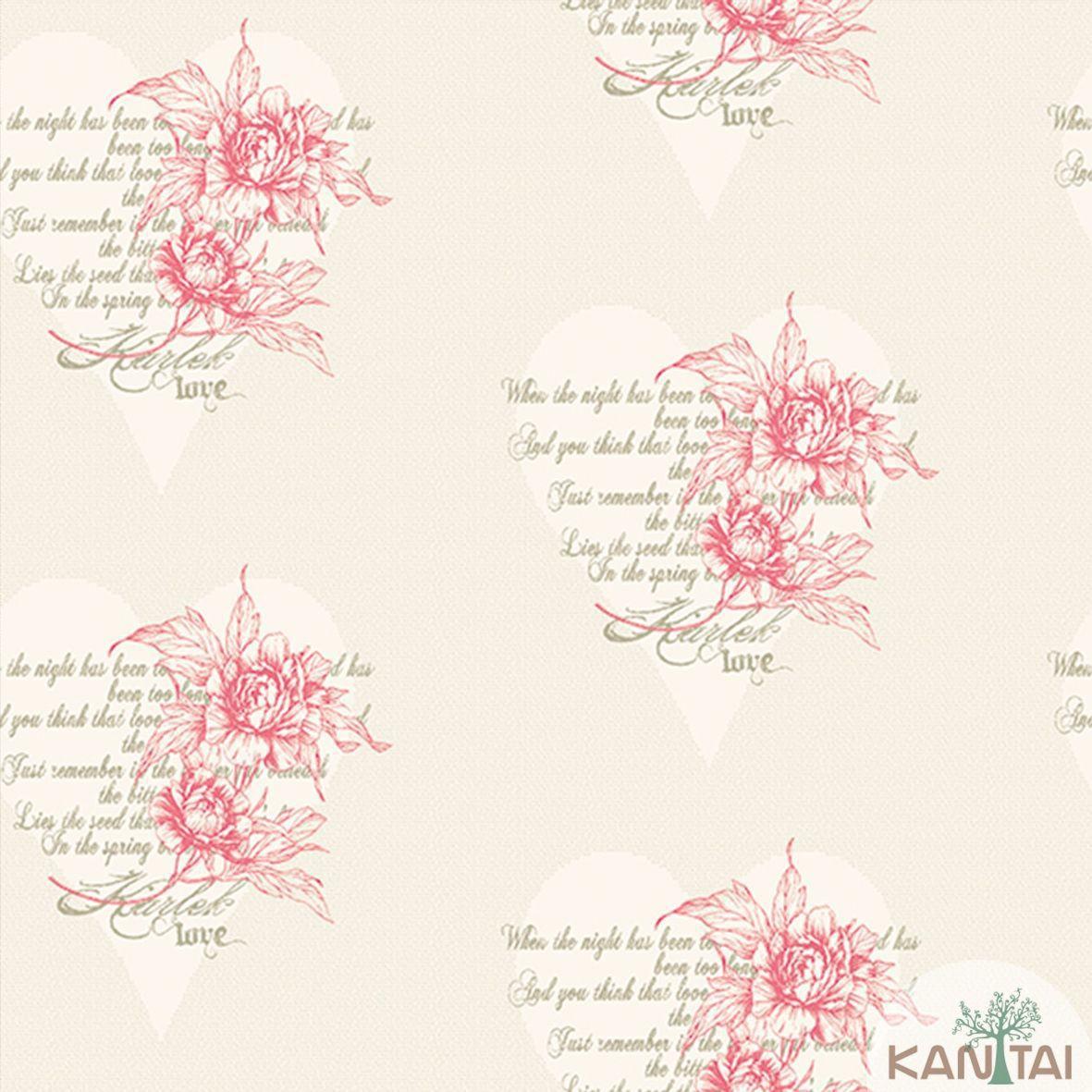 Papel de Parede Importado  Kan Tai  TNT Coleção Davinci II Florais Corações Bege, Vermelho, Prata