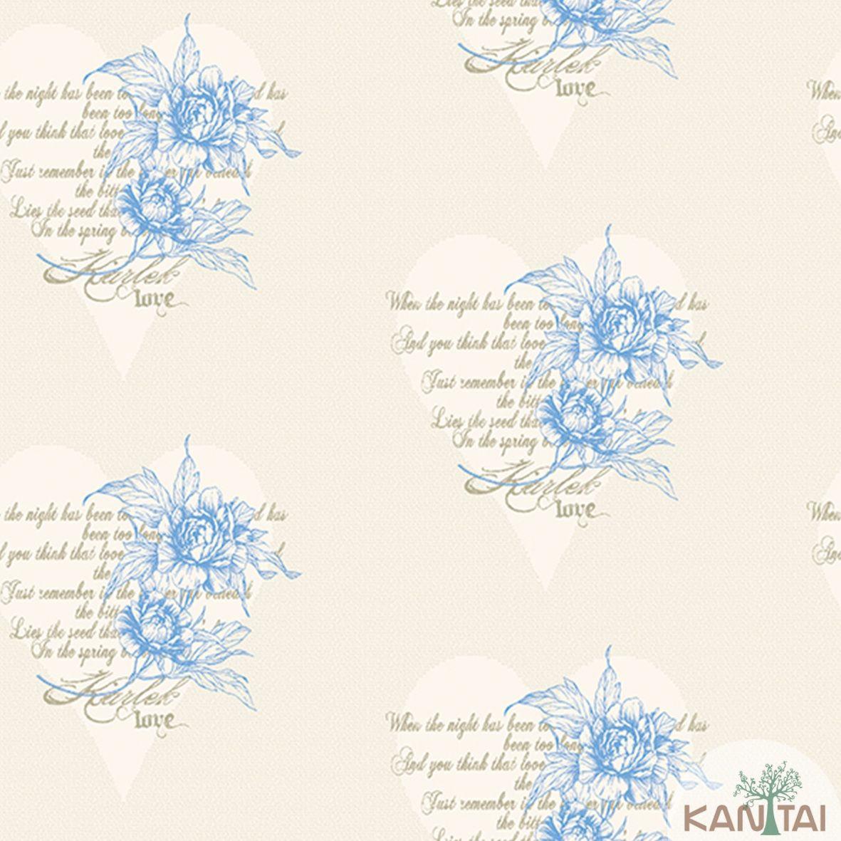 Papel de Parede Importado  Kan Tai  TNT Coleção Davinci II Florais Corações Cinza, Bege, Azul