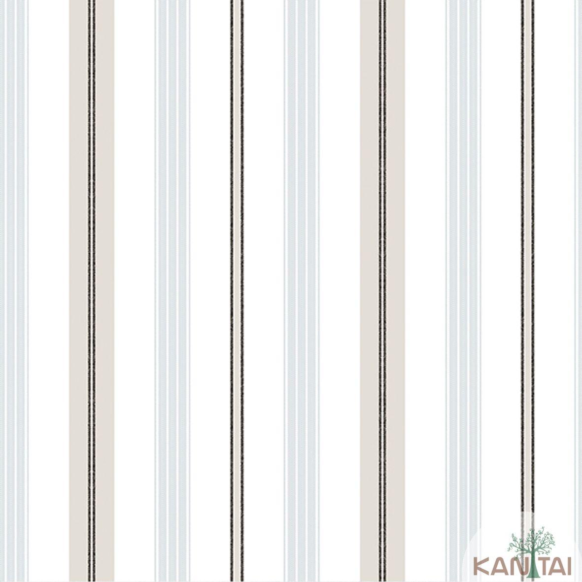 Papel de Parede Importado Kantai TNT Coleção Davinci II Listras Marfim, Tons de Cinza Claro, Preto
