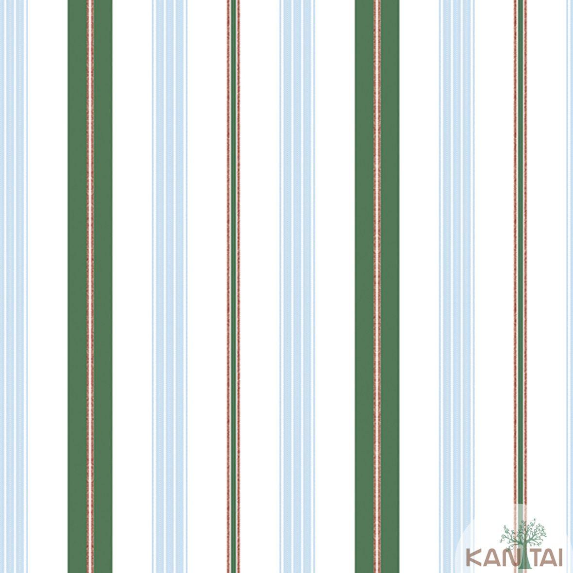 Papel de Parede Importado Kantai TNT Coleção Davinci II Listras Marfim, Verde, Vermelho, Azul
