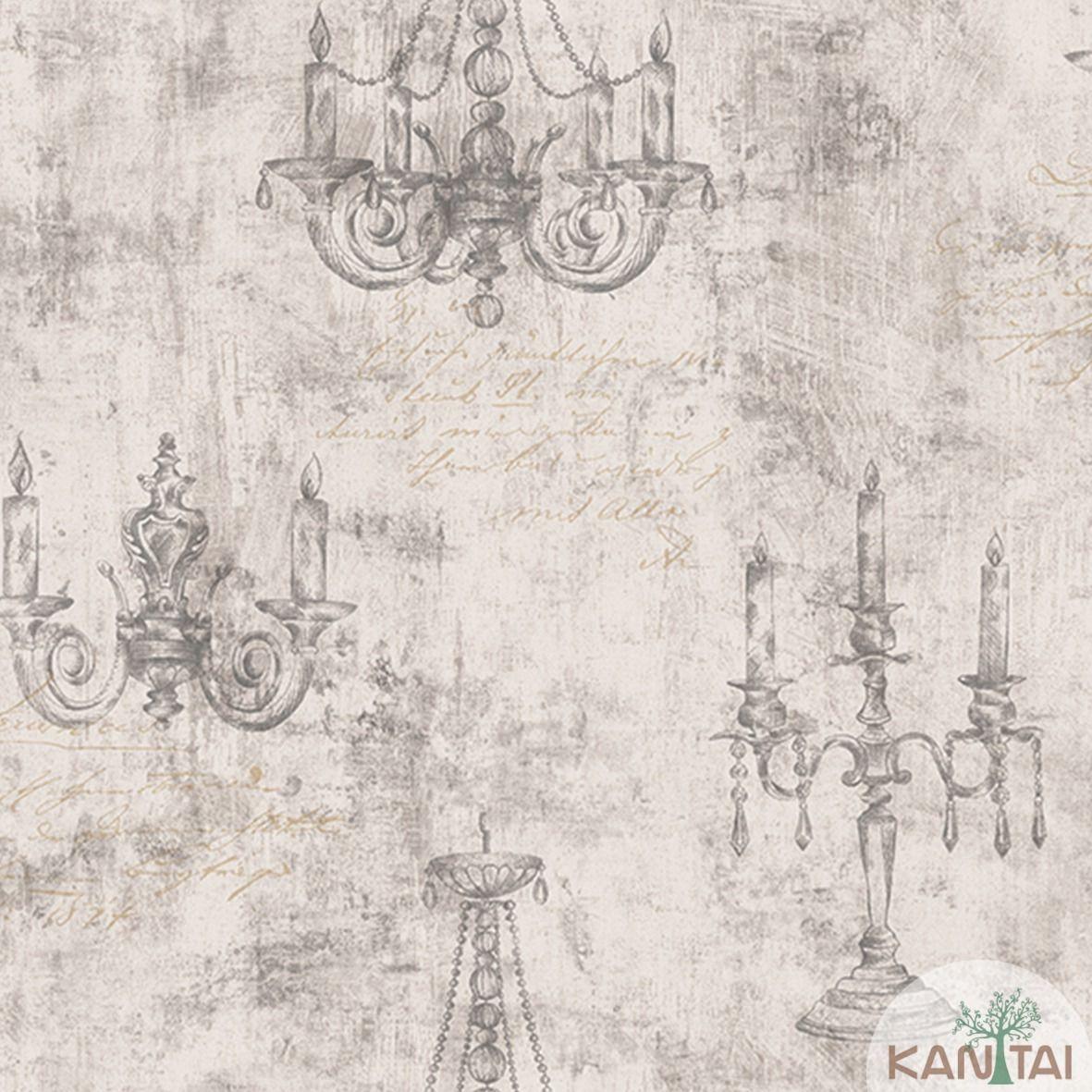 Papel de Parede Importado Kan Tai  TNT Coleção Davinci II Candelabros Tons de Marrom Claro