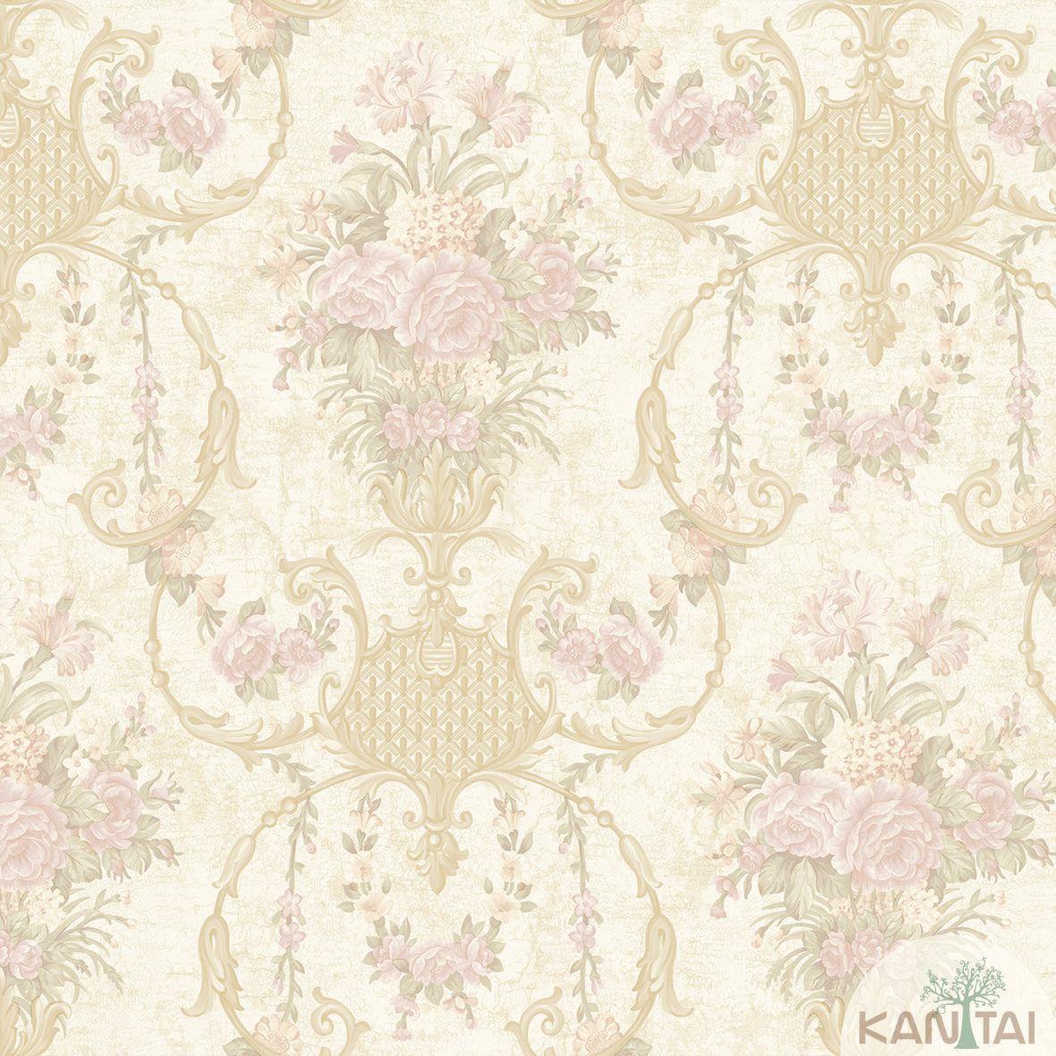 Papel de Parede Kan Tai TNT Coleção Flora 2 Floral Creme, Verde, Dourado, Rosa, Baixo relevo