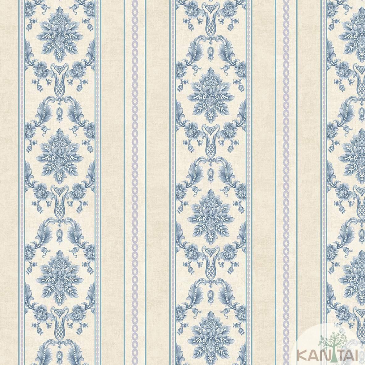 Papel de Parede Kan Tai Non Woven Coleção Flora 2 Baixo relevo Arabesco Listras Bege, Azul anil